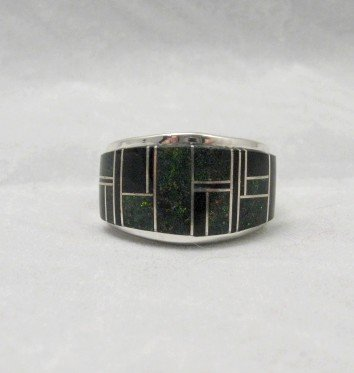 Tommy Jackson ~ Navajo ~ Black Jade & Black Opal Inlay Ring sz11-1/4