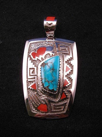 Michael Perry Navajo Turquoise Amp Coral Silver Overlay Pendant