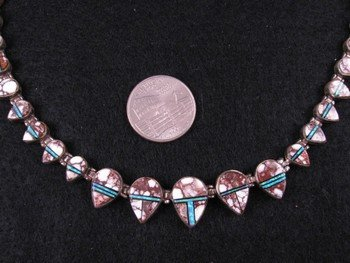 Native American Wild Horse & Opal Inlay Silver Necklace