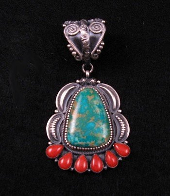 Kirk Smith Navajo Turquoise Coral Old Pawn Style Pendant