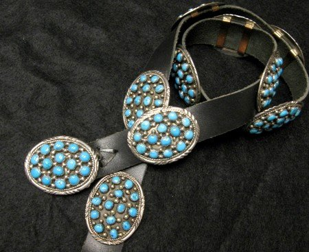 Image 0 of Dead Pawn Navajo * Roanhorse * Turquoise Silver Concho Belt