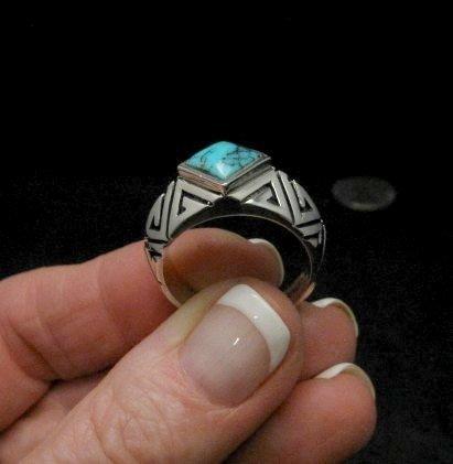 Image 1 of Melanie Kirk-Lente & Michael Lente (Isleta) Turquoise Ring sz9-1/2