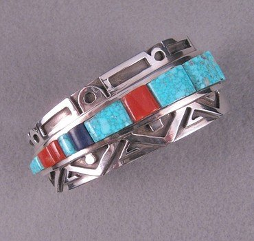 Erick Begay Navajo ''Diminishing Light'' Cornrow Inlay Silver Bracelet