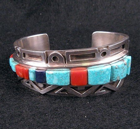 Image 1 of Erick Begay Navajo ''Diminishing Light'' Cornrow Inlay Silver Bracelet