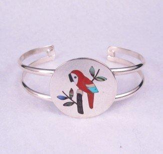 Image 1 of Sanford Edaakie ~ Zuni ~ Inlaid Macaw Parrot Bracelet