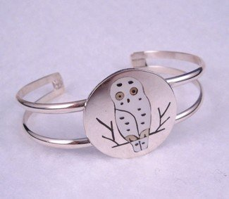 Image 1 of Spotted Snowy Owl Bracelet, by Zuni artist Sanford Edaakie