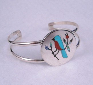 Image 1 of Inlay Blue Bird Zuni Bracelet, Sanford Edaakie