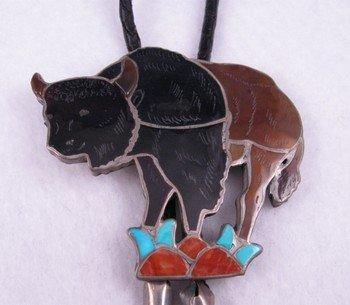 Joe Zunie Vintage Zuni Inlay Buffalo Bolo Tie
