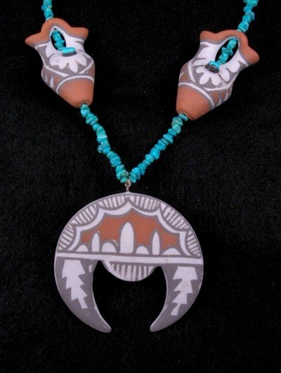Image 1 of Mary Small ~ Vintage Indian Pottery Necklace ~ Jemez