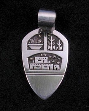 Image 0 of Big Joseph Coriz Santo Domingo Silver & 14K Gold Pendant