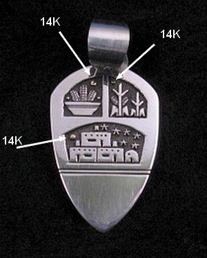 Image 1 of Big Joseph Coriz Santo Domingo Silver & 14K Gold Pendant