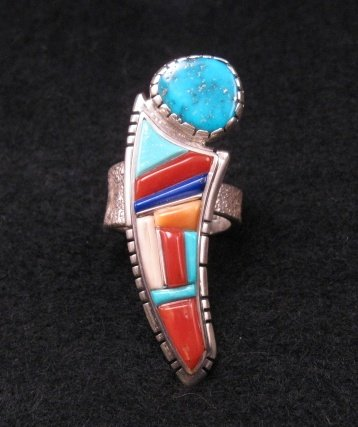David Tune Navajo Native American Cobblestone Inlay Ring sz6 to sz8 adjustable
