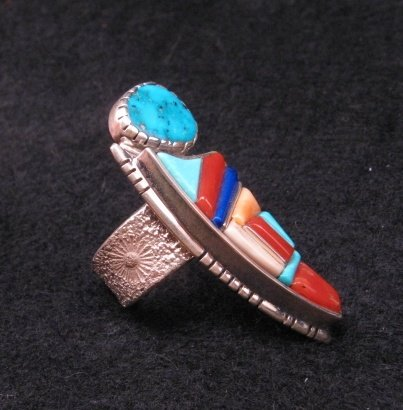 Image 1 of David Tune Navajo Native American Cobblestone Inlay Ring sz6 sz7 sz8