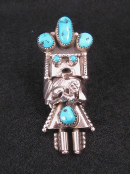 Navajo Turquoise Sterling Silver Kachina Ring, Doris Smallcanyon sz7, sz8, sz8.5