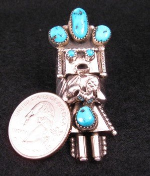 Image 2 of Navajo Turquoise Sterling Silver Kachina Ring Doris Smallcanyon sz8.25 or 8.5