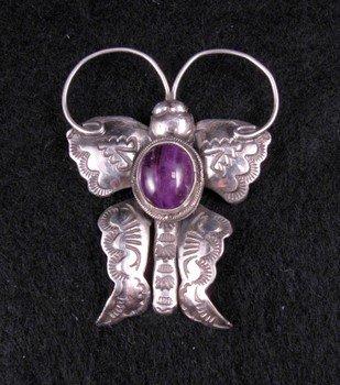 Joe Eby Purple Sugilite Sterling Silver Butterfly Pin