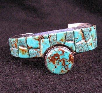 Ex-Large James McCabe, Navajo, Turquoise Cobblestone Silver Bracelet