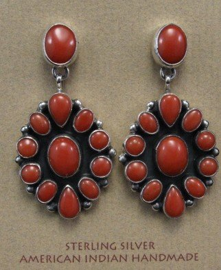 Image 0 of American Indian Coral Cluster Earrings, Geneva Apachito