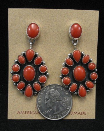 Image 1 of American Indian Coral Cluster Earrings, Geneva Apachito