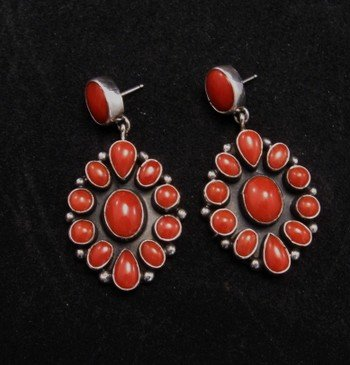 Image 2 of American Indian Coral Cluster Earrings, Geneva Apachito