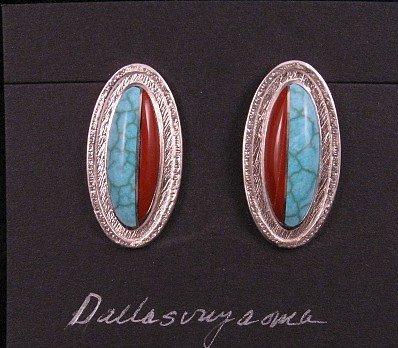 Oval Hopi Inlay Earrings, Bennard & Frances Dallasvuyaoma