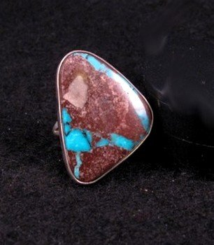 Image 0 of Native American Navajo Ribbon Turquoise Ring sz6-1/2