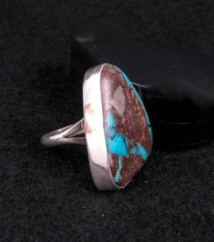 Image 1 of Native American Navajo Ribbon Turquoise Ring sz6-1/2