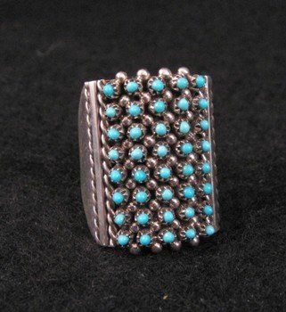 Image 0 of ZUNI TURQUOISE 8row 40stones SNAKE EYE RING, STEVEN HALOO, SZ7