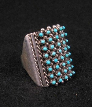 Image 1 of ZUNI TURQUOISE 8row 40stones SNAKE EYE RING, STEVEN HALOO, SZ7