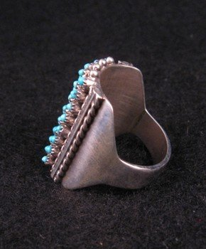 Image 2 of ZUNI TURQUOISE 8row 40stones SNAKE EYE RING, STEVEN HALOO, SZ7