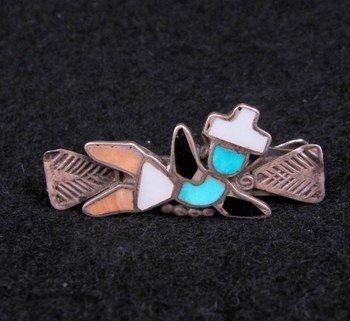 Vintage Zuni Inlaid Rainbowman Yei Tie Clasp