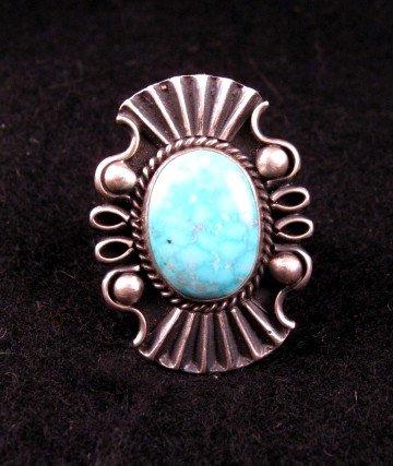 Fancy Derrick Gordon Navajo Turquoise Silver Ring Sz8