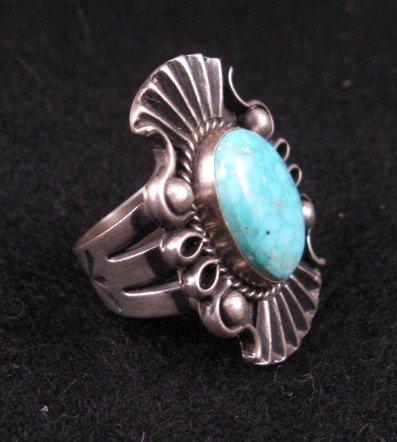 Image 1 of Fancy Derrick Gordon Navajo Turquoise Silver Ring Sz8