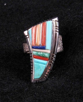 Navajo/Creek David Tune Multigem Inlay Silver Ring sz9-11 Adjustable