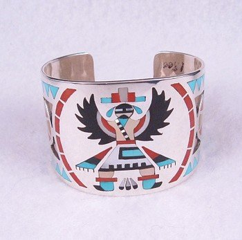Zuni ~ Dennis & Nancy Edaakie ~ Inlay Knifewing Kachina Bracelet