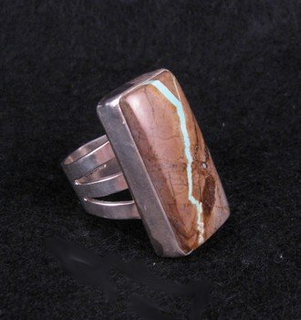 Image 1 of Native American Ribbon Turquoise Silver Ring sz5-3/4