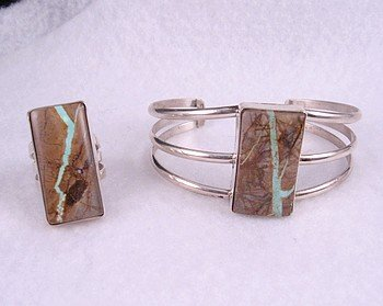 Image 2 of Native American Ribbon Turquoise Silver Ring sz5-3/4