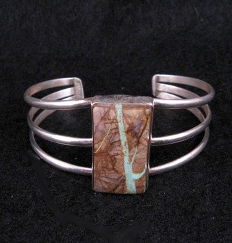 Image 0 of Native American Ribbon Turquoise Silver Bracelet