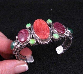 Navajo Multi Stone Silver Bracelet, Guy Hoskie