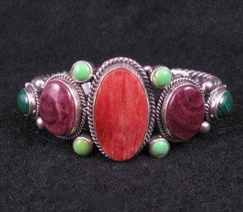 Image 1 of Navajo Multi Stone Silver Bracelet, Guy Hoskie