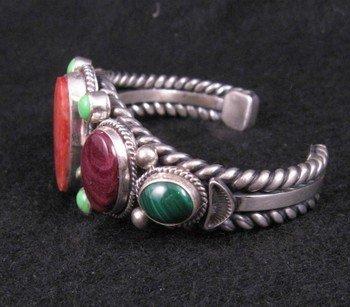 Image 2 of Navajo Multi Stone Silver Bracelet, Guy Hoskie