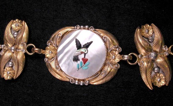Image 1 of Vintage Native American Inlay 10K Gold Sterling Silver Link Belt