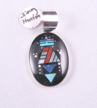 Oval Navajo Multistone Inlay Yei Pendant, Jim Harrison