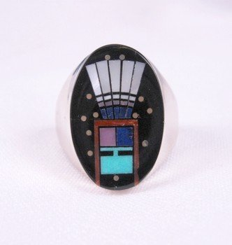 Image 0 of Navajo Yei Kachina Inlay Starry Nite Ring sz11, Clayton Tom