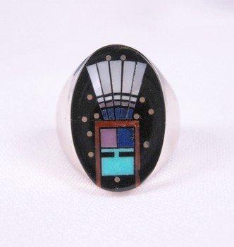 Navajo Yei Kachina Inlay Starry Nite Ring sz11, Clayton Tom