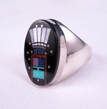 Image 1 of Navajo Yei Kachina Inlay Starry Nite Ring sz11, Clayton Tom