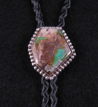 Image 1 of Native American Navajo Boulder Turquoise Silver Bolo
