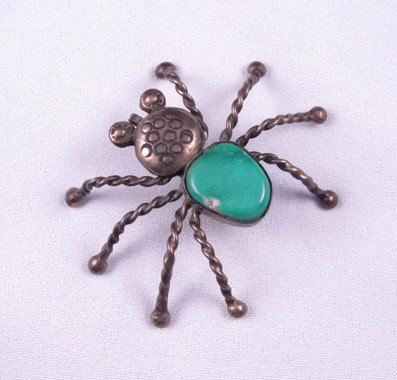 Vintage Native American Turquoise Silver Spider Pendant
