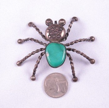 Image 1 of Vintage Native American Turquoise Silver Spider Pendant