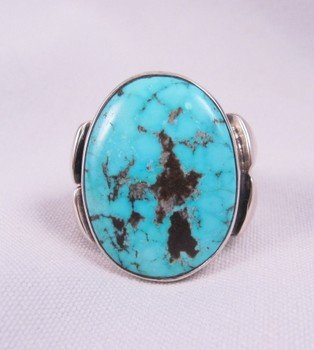 Orville Tsinnie Navajo Kingman Turquoise S/S Ring sz13
